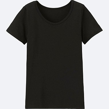 KIDS AIRism U-NECK SHORT-SLEEVE T-SHIRT, TRUE BLACK, medium
