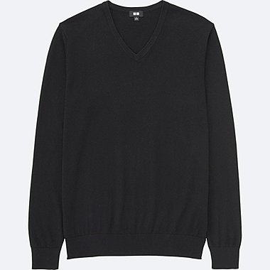MEN COTTON CASHMERE V-NECK SWEATER, BLACK, medium