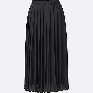 WOMEN HIGH WAIST CHIFFON PLEATED MIDI SKIRT, BLACK, medium