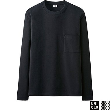 MEN U LONG-SLEEVE CREWNECK T-SHIRT, BLACK, medium