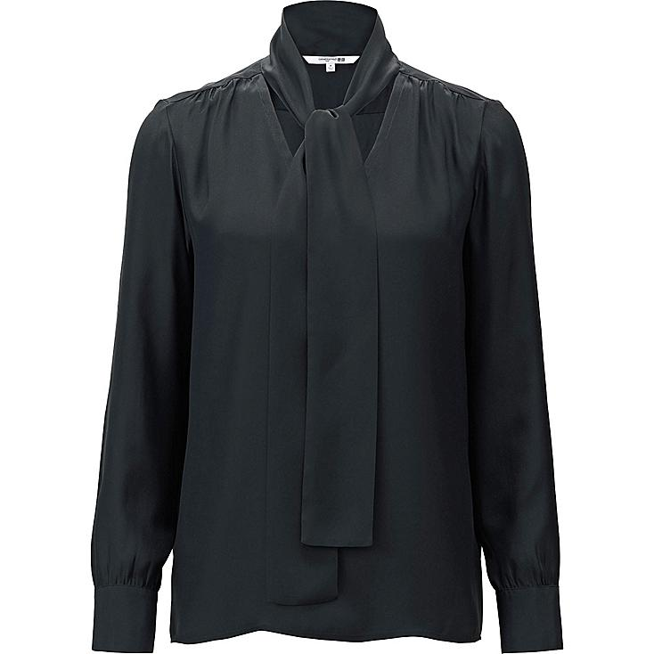 WOMEN CARINE SILK BOW TIE LONG-SLEEVE BLOUSE, BLACK, large