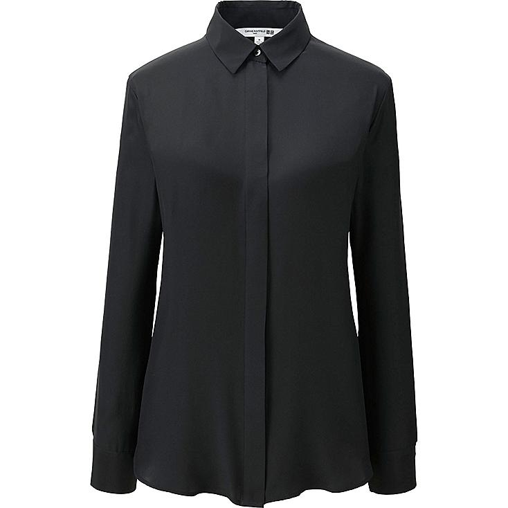 WOMEN CARINE SILK LONG-SLEEVE BLOUSE, BLACK, large