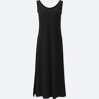 WOMEN SLEEVELESS LONG BRA DRESS, BLACK, medium