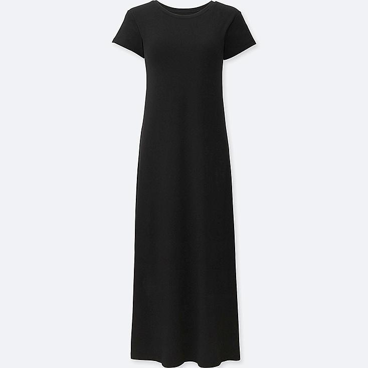 WOMEN SHORT SLEEVE LONG BRA DRESS, BLACK, large