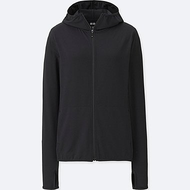 WOMEN AIRism UV CUT MESH FULL-ZIP HOODIE, BLACK, medium