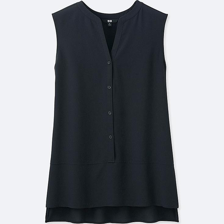 WOMEN RAYON SLEEVELESS BLOUSE, BLACK, large