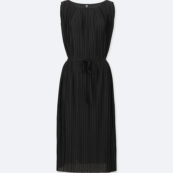WOMEN PLEATED JERSEY SLEEVELESS DRESS, BLACK, large