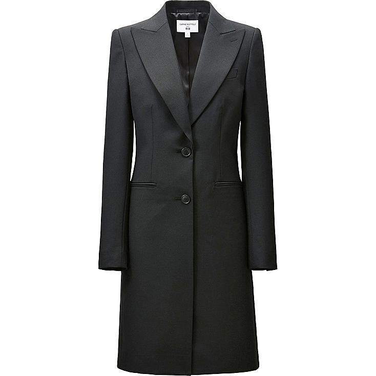 WOMEN CARINE WOOL BLENDED LONG JACKET, BLACK, large