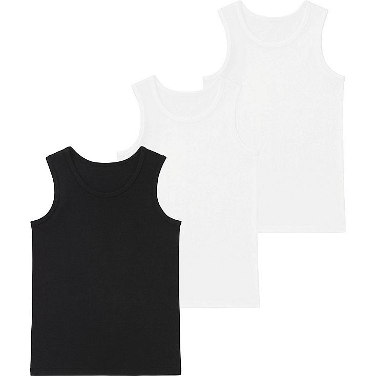 KIDS COTTON T-SHIRTS 3-PACK, BLACK, large