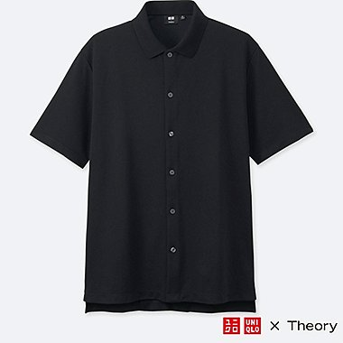 MEN DRY COMFORT FULL-OPEN POLO SHIRT (THEORY), BLACK, medium