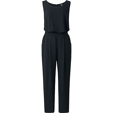 WOMEN CREWNECK JUMPSUIT, BLACK, medium