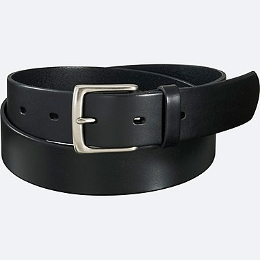 MEN ITALIAN OILED LEATHER BELT, BLACK, medium