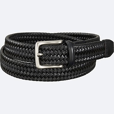 MEN BRAIDED LEATHER BELT, BLACK, medium