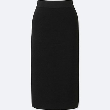 WOMEN RIPPLE PENCIL SKIRT, BLACK, medium