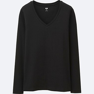 WOMEN Supima Cotton V Neck Long Sleeve T-Shirt