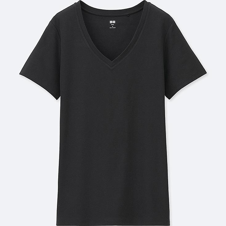 WOMEN SUPIMA COTTON V-NECK SHORT-SLEEVE T, BLACK, large