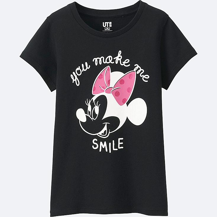 GIRLS DISNEY COLLECTION SHORT SLEEVE GRAPHIC T-Shirt, BLACK, large