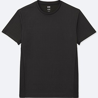 MEN DRY-EX SHORT SLEEVE CREW NECK T-SHIRT, BLACK, medium