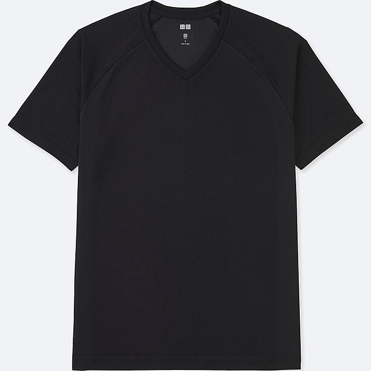MEN DRY EX SHORT SLEEVE V-NECK T-SHIRT, BLACK, large