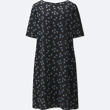 WOMEN CREPE SHORT SLEEVE DRESS, BLACK, medium