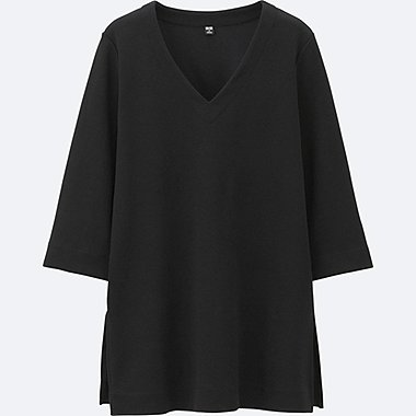 WOMEN Milano Ribbed Cut Sewn 3/4 Sleeve T