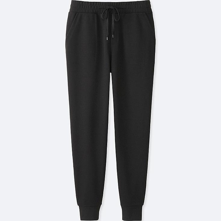 WOMEN MILANO RIBBED JOGGER CUT SEWN PANTS, BLACK, large