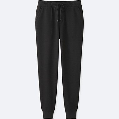 WOMEN MILANO RIBBED JOGGER CUT SEWN PANTS, BLACK, medium