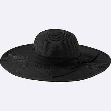 WOMEN PAPER WIDE BRIM HAT, BLACK, medium