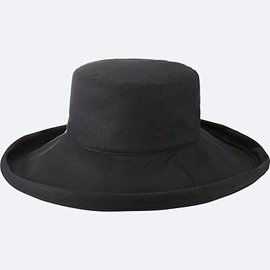 WOMEN WIDE BRIM HAT, BLACK, medium