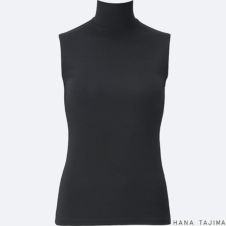 WOMEN AIRism HIGH NECK SLEEVELESS T-SHIRT, BLACK, large