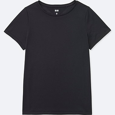 WOMEN DRY-EX CREWNECK SHORT-SLEEVE T-SHIRT, BLACK, medium