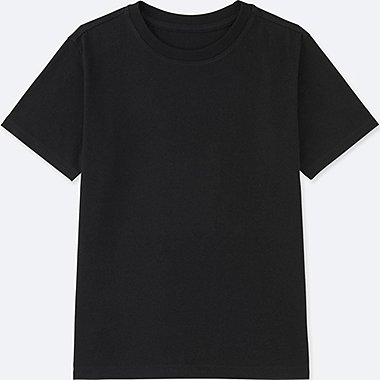 KIDS PACKAGED COLOR CREW NECK SHORT SLEEVE T-SHIRT, BLACK, medium