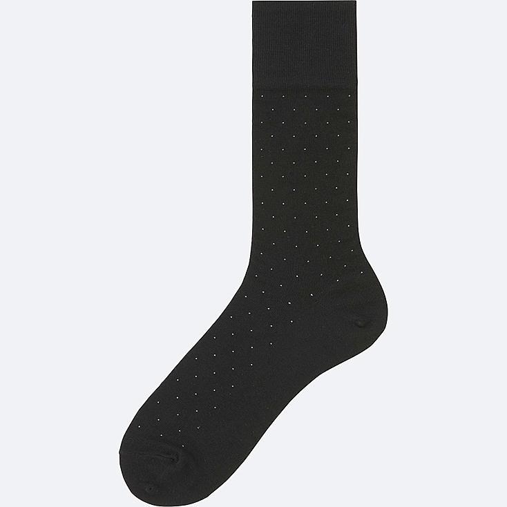 MEN SUPIMA COTTON DOTS SOCKS, BLACK, large