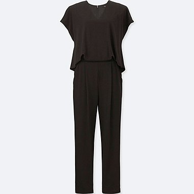 WOMEN JERSEY SHORT-SLEEVE JUMPSUIT, BLACK, medium