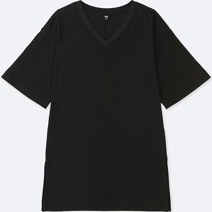 WOMEN V-NECK WIDE HALF SLEEVE LONG T-SHIRT, BLACK, large
