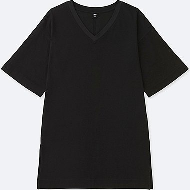 WOMEN V-NECK WIDE HALF SLEEVE LONG T-SHIRT, BLACK, medium