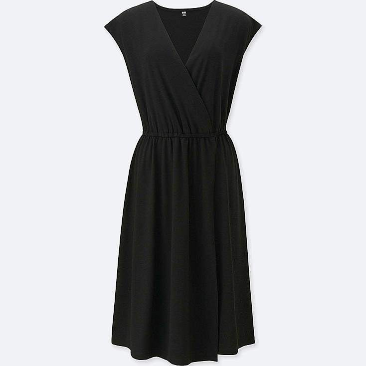 WOMEN Jersey Wrap Front Sleeveless Dress