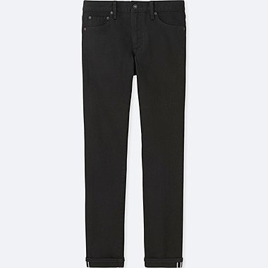 MEN SELVEDGE SKINNY FIT TAPERED JEANS, BLACK, medium