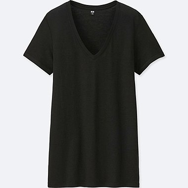 WOMEN MODAL LINEN V-NECK SHORT-SLEEVE T-SHIRT, BLACK, medium