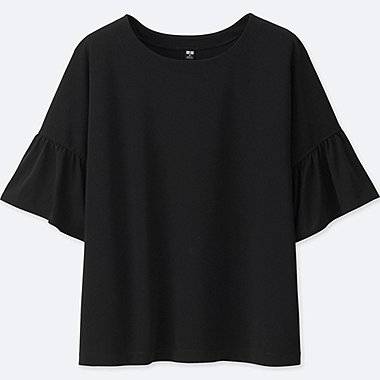 WOMEN PEPLUM SLEEVE SHORT SLEEVE T-SHIRT, BLACK, medium