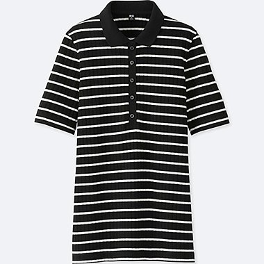 WOMEN Striped Ribbed Short Sleeve Polo Shirt