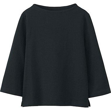 WOMEN MOCK NECK WIDE 3/4 SLEEVE T-SHIRT, BLACK, medium