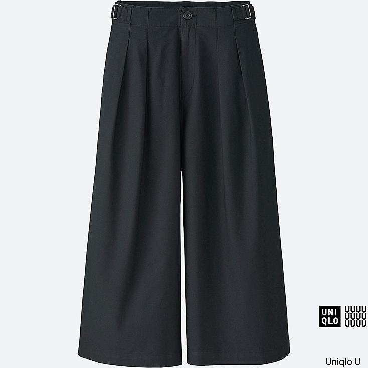 WOMEN U OXFORD WIDE LEG PANTS, BLACK, large