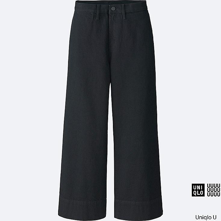 WOMEN U DENIM WIDE LEG PANTS, BLACK, large