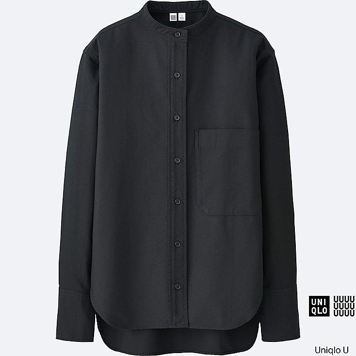 Women u oxford stand collar long sleeve shirt uniqlo us for Stand collar shirt womens