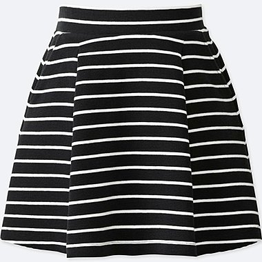 GIRLS STRIPED TUCK SKIRT, BLACK, medium
