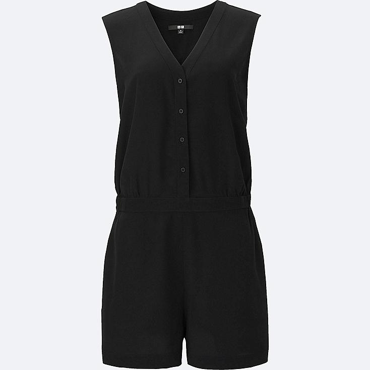 WOMEN Silk Touch Button Up V Neck Playsuit