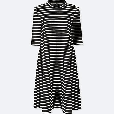 WOMEN RIBBED COTTON FLARE STRIPED DRESS, BLACK, medium