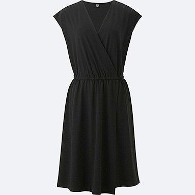 WOMEN JERSEY WRAP FRONT SLEEVELESS DRESS, BLACK, medium