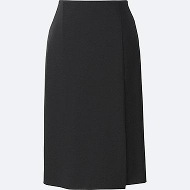 WOMEN High Waist Easy Care Drape Wrap Skirt